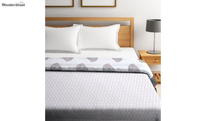 White Screen Print Reversible Floral Double Bed AC Dohar-2