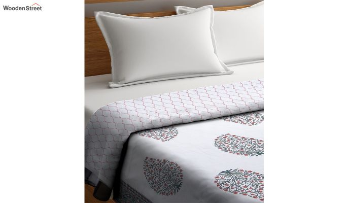 White Screen Print Reversible Floral Double Bed AC Dohar-3