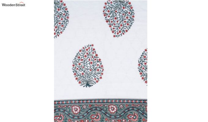 White Screen Print Reversible Floral Double Bed AC Dohar-5