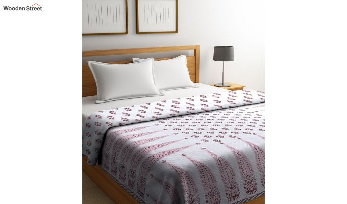 White Screen Print Traditional Jaipuri Double Bed Summer Quilt-1