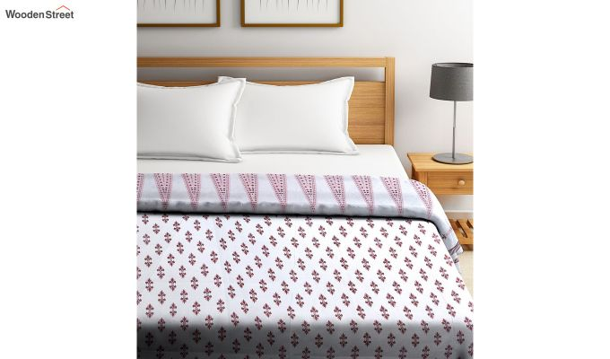 White Screen Print Traditional Jaipuri Double Bed Summer Quilt-2