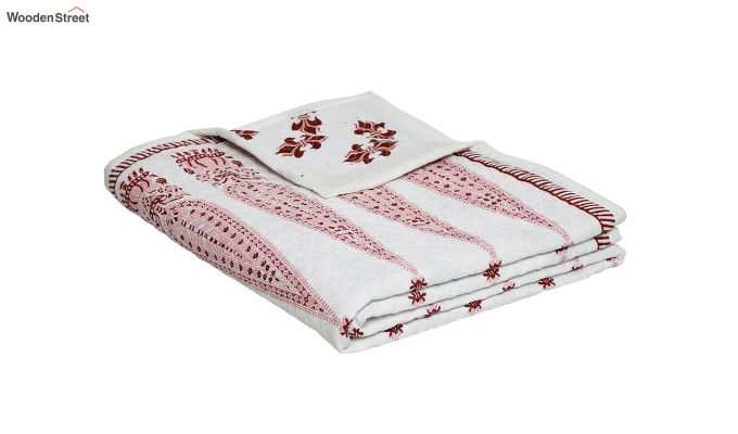 White Screen Print Traditional Jaipuri Double Bed Summer Quilt-4