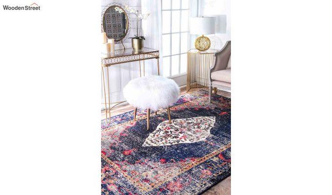Abstract Pattern Blue Vintage Nylon Carpet - 7 x 5 Feet-1