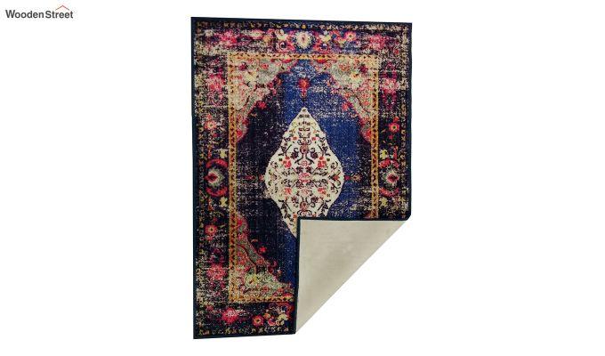 Abstract Pattern Blue Vintage Nylon Carpet - 7 x 5 Feet-5
