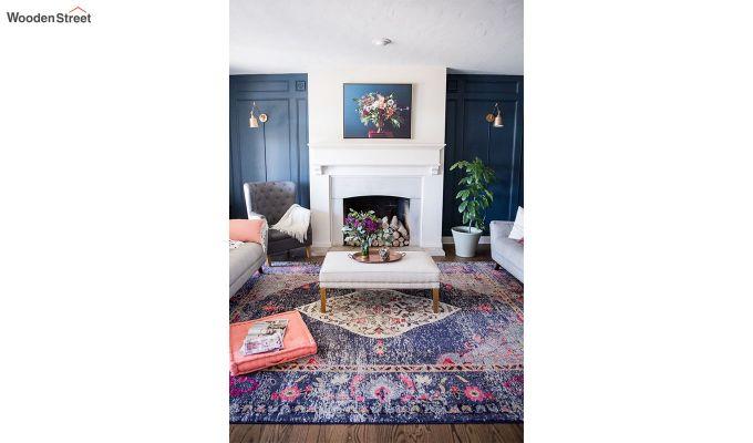 Abstract Pattern Blue Vintage Nylon Carpet - 7 x 5 Feet-6
