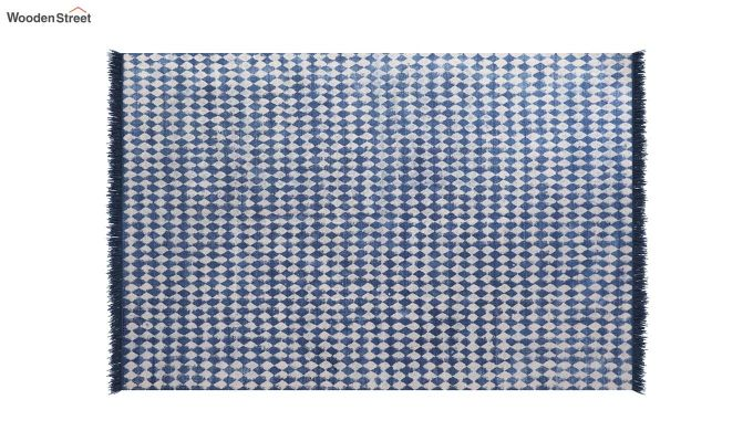 Beaded Blues Hand Woven Cotton Rug (Beaded Blues)-3