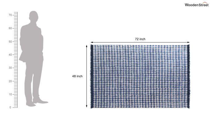 Beaded Blues Hand Woven Cotton Rug (Beaded Blues)-5