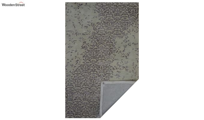 Beige Abstract Design Hand Tufted Wool and Viscose Carpet - 8 x 5 Feet-2