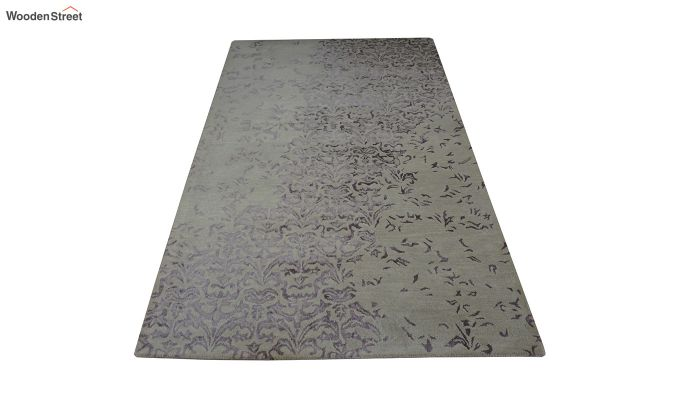 Beige Abstract Design Hand Tufted Wool and Viscose Carpet - 8 x 5 Feet-3