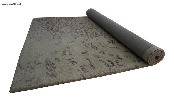 Beige Abstract Design Hand Tufted Wool and Viscose Carpet - 8 x 5 Feet-6
