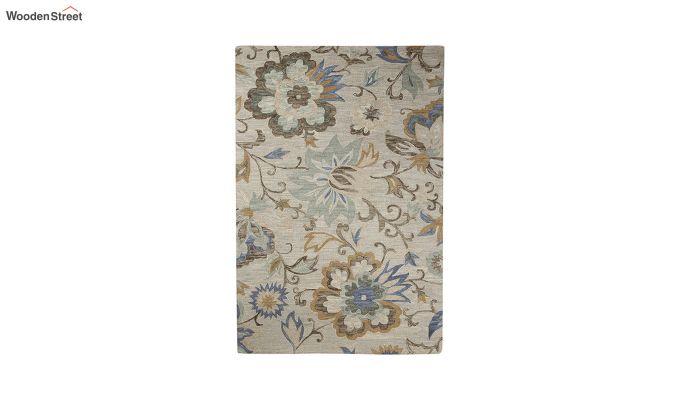 Beige Floral Hand Tufted Wool Carpet - 8 x 5 Feet-2