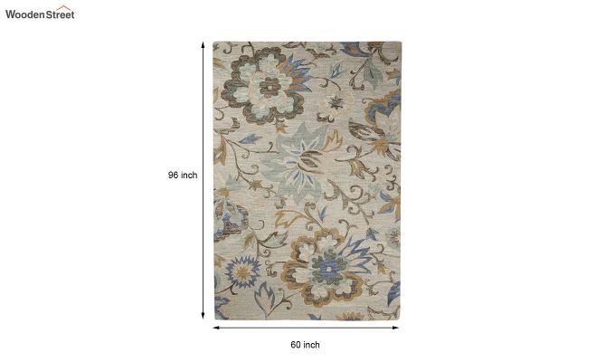 Beige Floral Hand Tufted Wool Carpet - 8 x 5 Feet-5