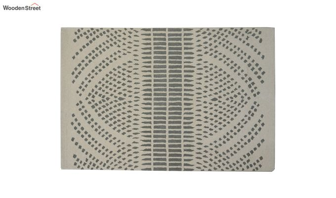 Beige Solid Textured Hand Tufted Wool Carpet - 6 x 4 Feet-6