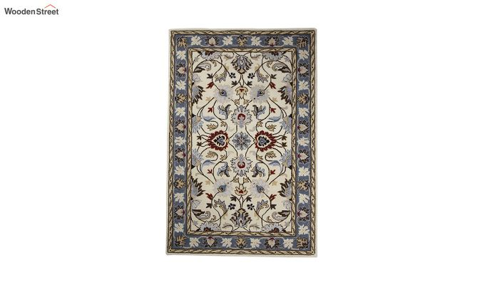 Beige Suzani Hand Tufted Wool Carpet - 8 x 5 Feet-2