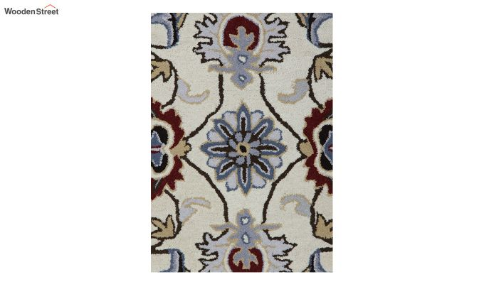 Beige Suzani Hand Tufted Wool Carpet - 8 x 5 Feet-3