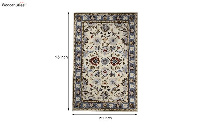 Beige Suzani Hand Tufted Wool Carpet - 8 x 5 Feet-5
