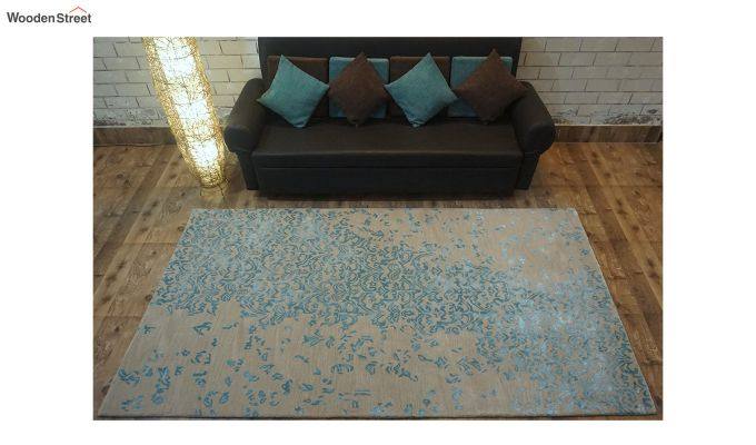 Blue Abstract Design Hand Tufted Wool and Viscose Carpet - 6 x 4 Feet-1