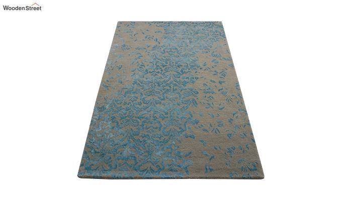 Blue Abstract Design Hand Tufted Wool and Viscose Carpet - 6 x 4 Feet-2
