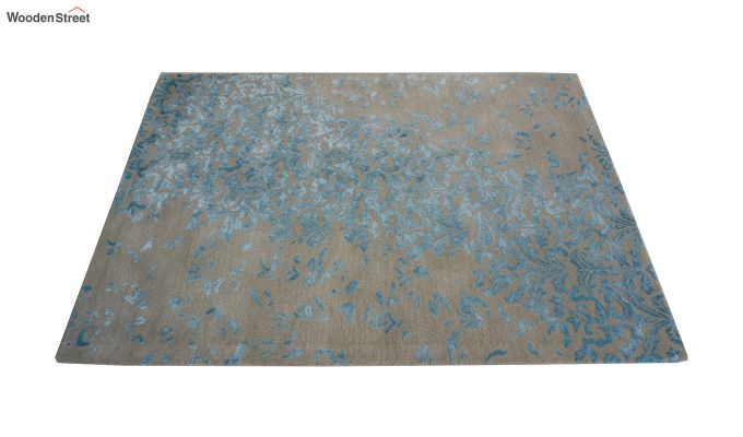 Blue Abstract Design Hand Tufted Wool and Viscose Carpet - 6 x 4 Feet-4