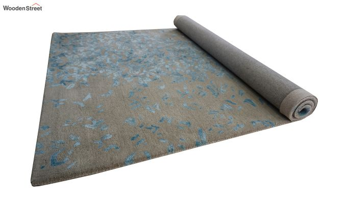 Blue Abstract Design Hand Tufted Wool and Viscose Carpet - 6 x 4 Feet-5