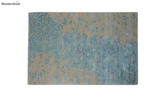 Blue Abstract Design Hand Tufted Wool and Viscose Carpet - 6 x 4 Feet-7