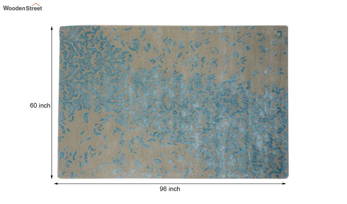 Blue Abstract Design Hand Tufted Wool and Viscose Carpet - 8 x 5 Feet-9