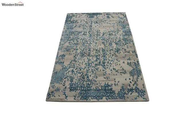 Blue Abstract Design Wool and Viscose Hand Tufted Carpet - 6 x 4 Feet-2