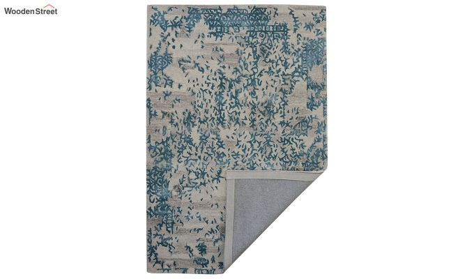Blue Abstract Design Wool and Viscose Hand Tufted Carpet - 6 x 4 Feet-3