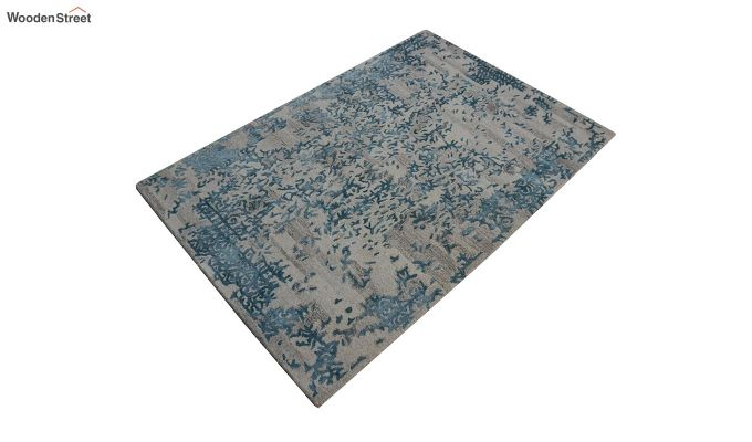 Blue Abstract Design Wool and Viscose Hand Tufted Carpet - 6 x 4 Feet-4