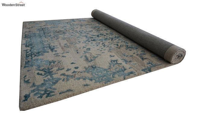 Blue Abstract Design Wool and Viscose Hand Tufted Carpet - 6 x 4 Feet-5