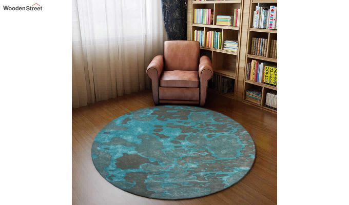 Blue Abstract Pattern Hand Tufted Wool and Viscose Carpet - 8 x 8 Feet-1