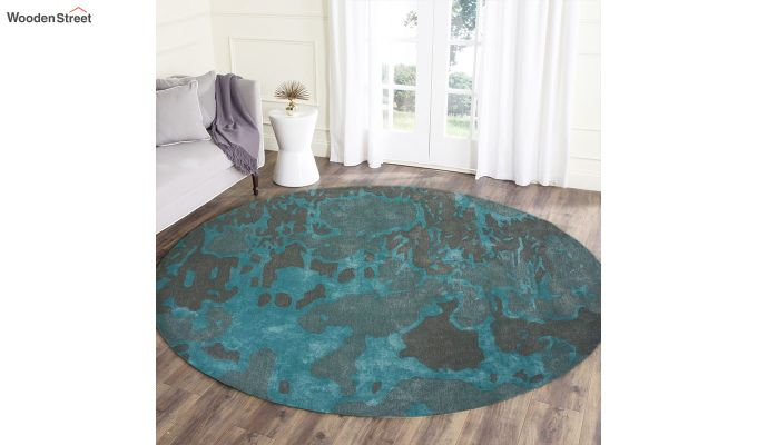 Blue Abstract Pattern Hand Tufted Wool and Viscose Carpet - 8 x 8 Feet-2