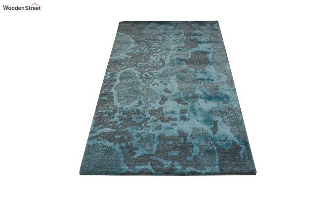 Blue Abstract Pattern Hand Tufted Wool and Viscose Carpet - 6 x 4 Feet-2