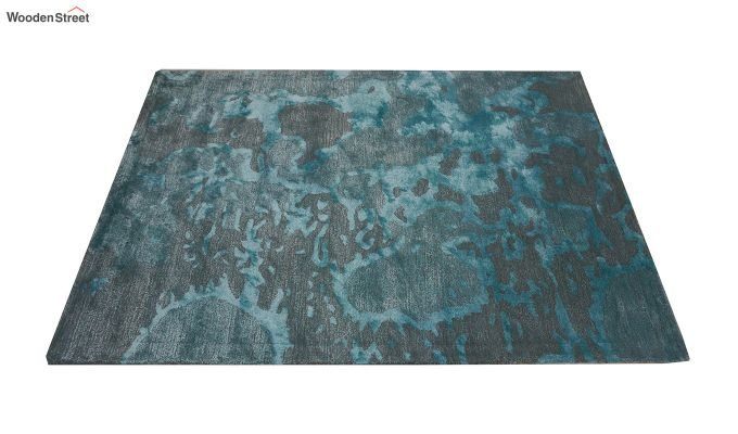 Blue Abstract Pattern Hand Tufted Wool and Viscose Carpet - 6 x 4 Feet-3