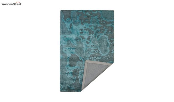 Blue Abstract Pattern Hand Tufted Wool and Viscose Floor Mat- 6 x 4 Feet-4