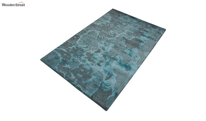 Blue Abstract Pattern Hand Tufted Wool and Viscose Floor Mat- 6 x 4 Feet-7