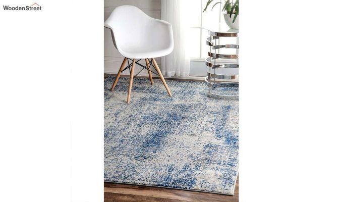 Blue Abstract Pattern Nylon Carpet - 5 x 3 Feet-2