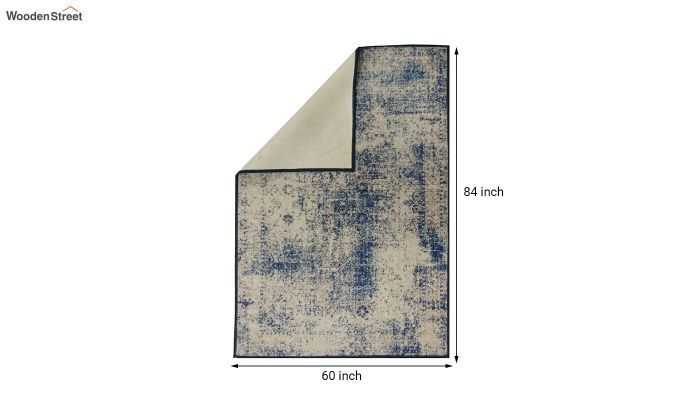Blue Abstract Pattern Nylon Carpet - 7 x 5 Feet-4