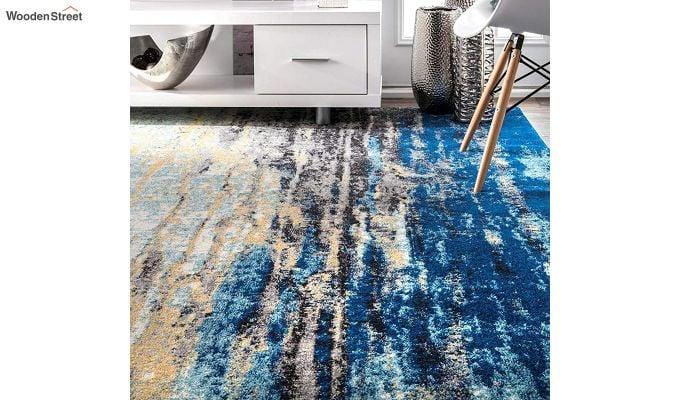 Blue Abstract Pattern Vintage Nylon Carpet - 5 x 3 Feet-2