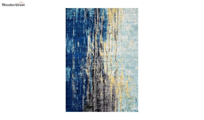 Blue Abstract Pattern Vintage Nylon Carpet - 5 x 3 Feet-3