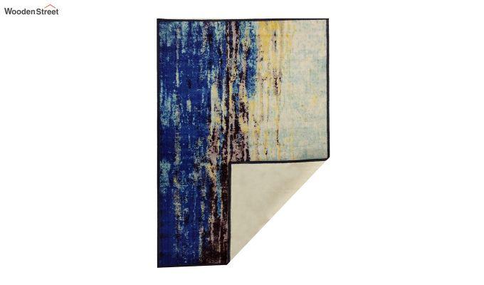 Blue Abstract Pattern Vintage Nylon Carpet - 5 x 3 Feet-6