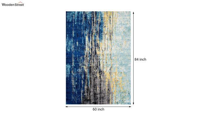 Blue Abstract Pattern Vintage Nylon Carpet - 7 x 5 Feet-7