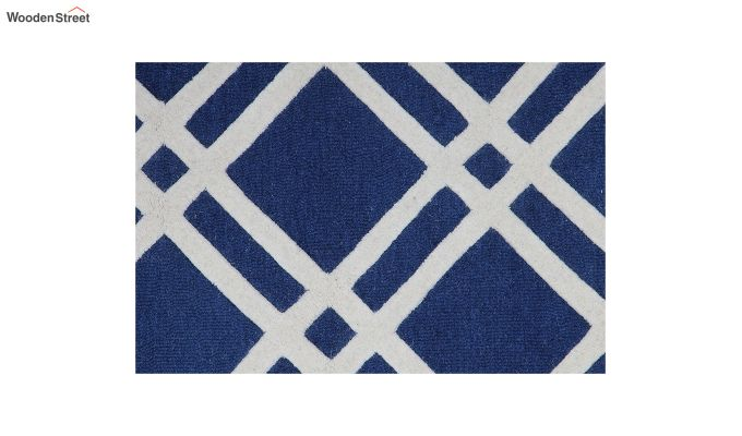Blue and White Geometric Hand Tufted Wool Carpet - 8 x 5 Feet-2