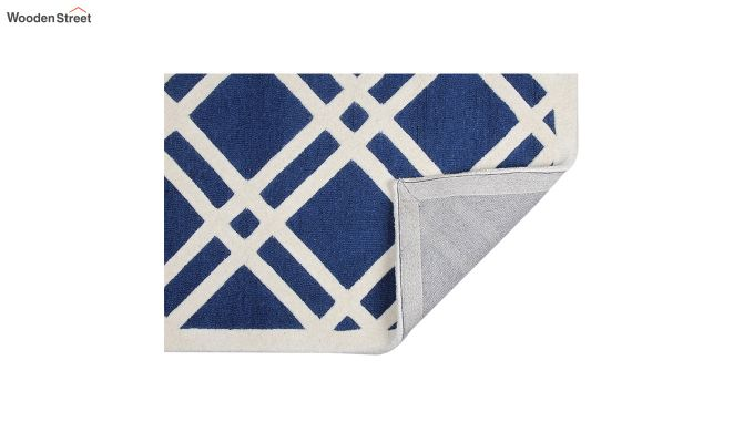 Blue and White Geometric Hand Tufted Wool Carpet - 8 x 5 Feet-3