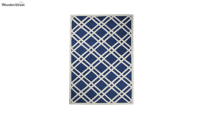 Blue and White Geometric Hand Tufted Wool Carpet - 8 x 5 Feet-4