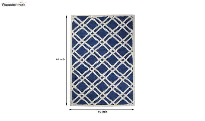 Blue and White Geometric Hand Tufted Wool Carpet - 8 x 5 Feet-5