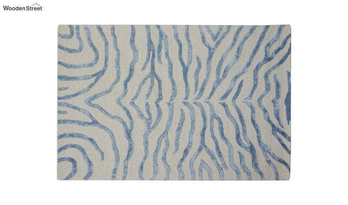 Blue Chevron Design Wool & Viscose Hand Tufted Carpet - 6 x 4 Feet-2