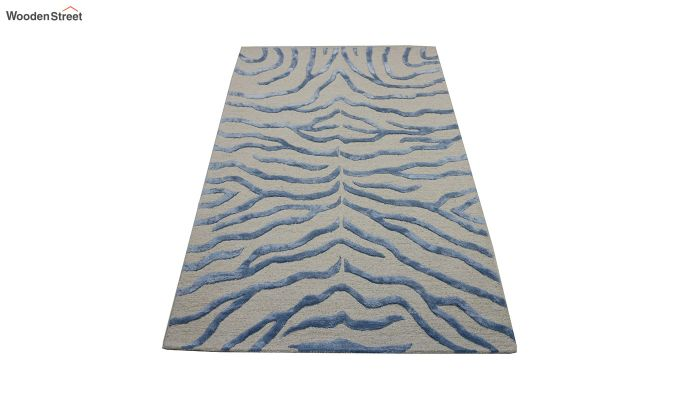 Blue Chevron Design Wool & Viscose Hand Tufted Carpet - 6 x 4 Feet-3