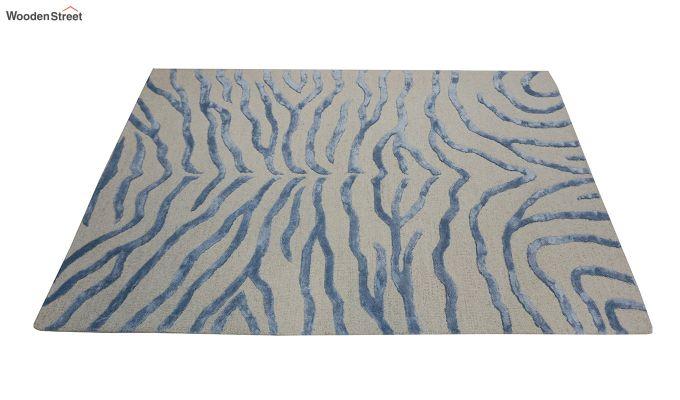 Blue Chevron Design Wool & Viscose Hand Tufted Carpet - 6 x 4 Feet-5