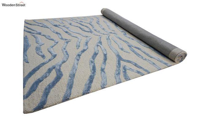 Blue Chevron Design Wool & Viscose Hand Tufted Carpet - 6 x 4 Feet-8